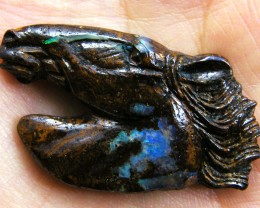 HAND CARVED HORSE  HEAD  BOULDER OPAL    58  CTS MM 927