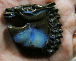 HAND CARVED HORSE HEAD  BOULDER OPAL  93.18CTS MM980