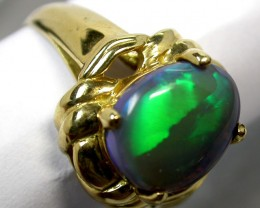 FLASH LARGE SOLID OPAL 18K GOLD RING SIZE 7.5 A819