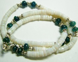 70 CTS WHITE OPAL AND NEON APATITE BEAD NECKLACE  LO-4336