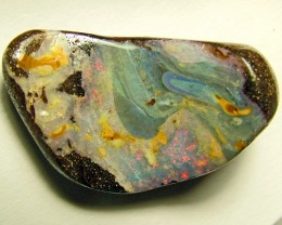 31 CTS BOULDER OPAL AMAZING PATTERN STONE DRILLED AS1403