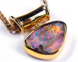 Gold Boulder Opal Pendants