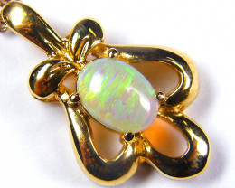 ATTRACTIVE RICH GREEN FIRE CRYSTAL OPAL GOLD PENDANT SCO30