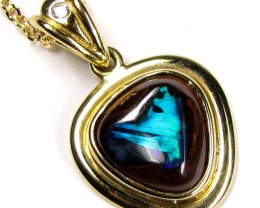 Boulder Opal With Diamenties 18K Gold Pendant SCO34
