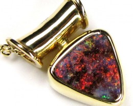 Fire Flash Boulder Opal Gold Pendant SCO35