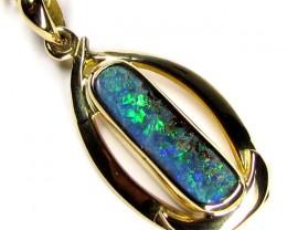Sea Green Boulder Opal 18k Gold Pendant SCO39