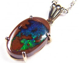 Blue Green Fire Boulder Opal White Gold Pendant SCO44