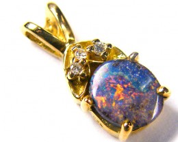 Multi Colour Fire Flash Boulder Opal Pendant SCO45