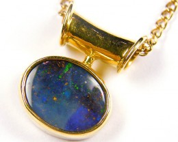 Deep Blue Fire Flash Boulder Opal Pendant SCO46