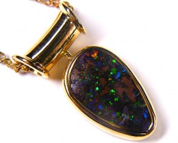 Multi Colour Fire Flash Boulder Opal 18k Pendant SCO52
