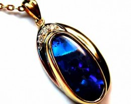 Blue Fire Solid Black Opal Pendant set with Diamonds,  sco61