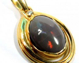 Huge Solid Black Opal Fire Flash 18K Gold Pendant SCO75