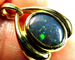 Solid Black Opal Fire Flash 18K Gold Pendant SCO84