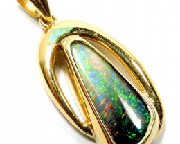 Solid black  Opal Fire Flash 18K Gold Pendant SCO92