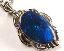 DEEP BLUE FLASH BLACK OPAL WHITE GOLD PENDANT SCO139