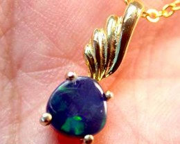 Solid Black Opal Yellow Gold Pendant SCO153