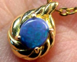 Deep Blue Flash Solid Black Opal Yellow Gold Pendant SCO156