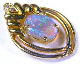 Sea Green Fire Flash Opal Gold Pendant set with Diamenties S