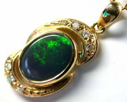 Solid Black Opal Sea Green Flash set with Diamenties SCO165