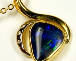 FREE SHIPPING Dark Blue Flash Solid Black Opal 18K Gold Pendant SCO184