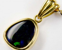 Royal Purple Blue Flash Solid Black Opal 18K Gold Pendant SCO190