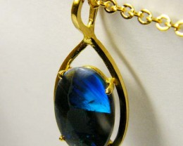 Sapphire Blue Flash Gem Quality 18K Gold Pendant SCO194
