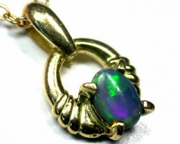 EMERALD GREEN SOLID CRYSTAL OPAL 18K GOLD PENDANT SCO236