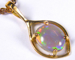 SEA GREEN FLASH SOLID CRYSTAL OPAL 18K GOLD PENDANT SCO272