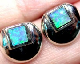 OPAL INLAY 18K WHITE GOLD EARRING SCO302