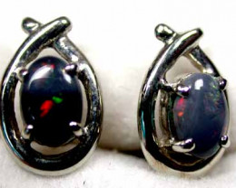 SOLID BLACK OPAL 18K WHITE GOLD EARRING SCO308