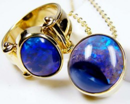 MATCHING BLUES, BLACK OPAL S  RING AND PENDANT SCO 322