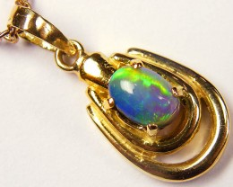 SEA GREEN FIREFLASH SOLID BLACK OPAL GOLD PENDANT SCO335