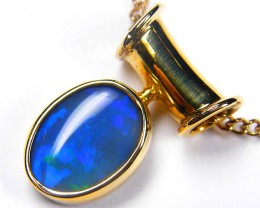 BEAUTIFUL ROYAL BLUE FLASH BLACK OPAL 18KGOLD PENDANT SCO344