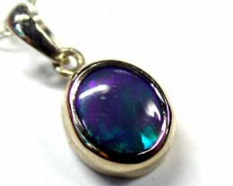DEEP BLUE FLASH BLACK OPAL 18K WHITE GOLD PENDANT SCO347