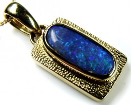 BLACK OPAL SET IN MODERN 18K  GOLD PENDANT CJ3