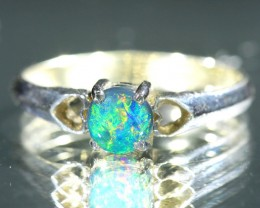 GEMM MULTIFIRE BLACK  OPAL 18K  WHITEGOLD RING SIZE  7. CJ 7