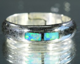 MULTI FIRE INLAY  OPAL 18K  WHITE GOLD RING SIZE  7.5 CJ 8