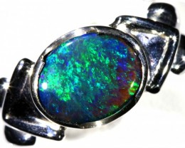ROLING GREEN BLACK   OPAL 18K  WHITE GOLD RING SIZE  9  CJ 9