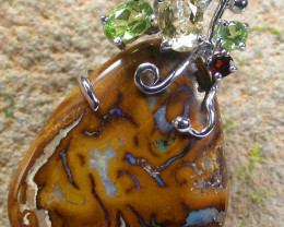 STUNNING  YOWAH  PENDANT WITH  6 NATURAL STONES 50CTS MS1328