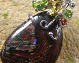 STUNNING  YOWAH  PENDANT WITH  6 NATURAL STONES 55CTS MS1355