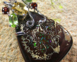 STUNNING  YOWAH  PENDANT WITH  6 NATURAL STONES 71CTS MS1356