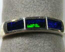 STYLISH   SILVER  INLAY  OPAL  RING SIZE  6.5-7.5  CJ 53