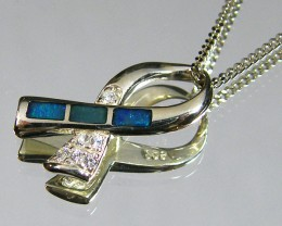 BRIGHT INLAY OPAL IN SILVER PENDANT WITH CZ   CJ 209