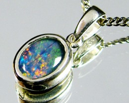BRIGHT TRIPLET  OPAL 7X5 MM  IN SILVER PENDANT    CJ 217