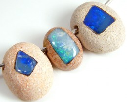 PARCEL  THREE INLAY OPAL BEADS 24.35 CARATS  GTT 700