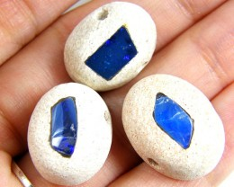 PARCEL  THREE INLAY OPAL BEADS 31.65 CARATS   GTT 711