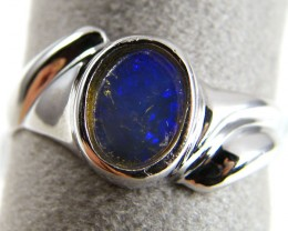 SOLID CRYSTAL   OPAL  IN SILVER RING  SIZE  7.5 CJ 258