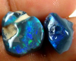 2 INTERESTING BLACK OPAL ROUGH RUBS 8.55  CTS JO 972A