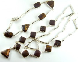 BOULDER OPAL NECKLACE AND   BRACELET SET IN SILVER GTT 810