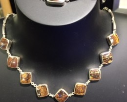 BOULDER OPAL NECKLACE AND   BRACELET SET IN SILVER GTT 812